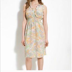 Rebecca Taylor Ruffle Floral Silk Dress